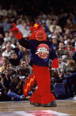 NEW YORK - NOVEMBER 10:  Thunder, the St. John's mascot, entertains the crowd during the Coaches v Cancer Classic Tournament game between the St. John's University Red Storm and the Kansas Jayhawks at Madison Square Garden on November 10, 2000 in New York