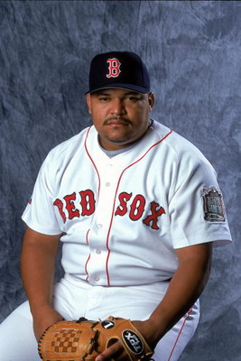 27 Feb 2000:  Pitcher Rich Garces #34 of the Boston Red Sox poses for a studio portrait during Spring Training Photo Day in Fort Myers, Florida. Mandatory Credit: Ezra O. Shaw  /Allsport