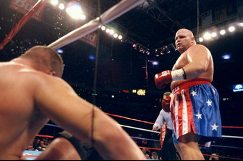 13 Feb 1999:  Butterbean looks down on Patrick Graham after he is knocked down into the ropes during the fight at Thomas & Mack Center in Las Vegas, Nevada. Mandatory Credit: Al Bello  /Allsport