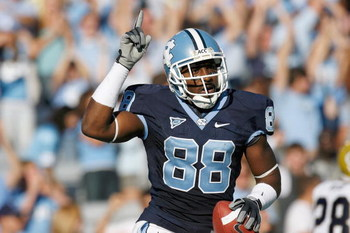 CHAPEL HILL, NC - NOVEMBER 08:  Hakeem Nicks #88 of the North Carolina Tar Heels celebrates on the field during the game against the Georgia Tech Yellow Jackets at Kenan Stadium on November 8, 2008 in Chapel Hill, North Carolina.  (Photo by Kevin C. Cox/G