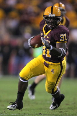 TEMPE, AZ - DECEMBER 01:  Dimitri Nance #31 of the Arizona State carries the ball against the University of Arizona Wildcats during the second quarter at Sun Devil Stadium on December 1, 2007 in Tempe, Arizona.  (Photo by Harry How/Getty Images)