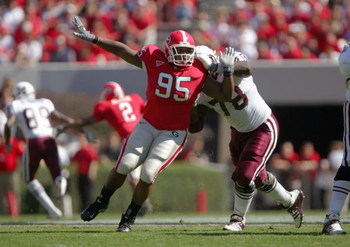 ATHENS, GA - OCTOBER 21:  Jeff Owens #95 of the Georgia Bulldogs moves on the field during the game against the Mississippi State Bulldogs on October 21, 2006 at Sanford Stadium in Athens, Georgia. Georgia defeated Mississippi State 27-24. (Photo by Doug 