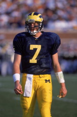 21 Oct 2000:  Quarterback Drew Henson #7 of the Michigan Wolverines looks on from the field during the game against the Michigan State Spartans at the Michigan Stadium in Ann Arbor, Michigan. The Wolverines defeated the Spartans 14-0.Mandatory Credit: Tom