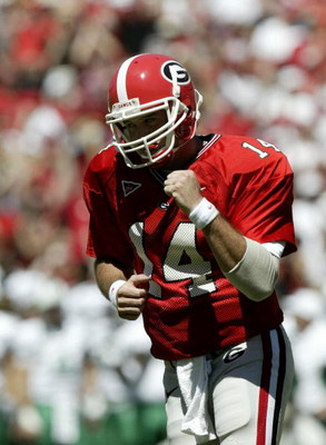 ATHENS, GA - SEPTEMBER 18:  Quarterback David Greene #14 of the Georgia Bulldogs celebrates their only touchdown against the Marshall Thundering Herd on September 18, 2004 at Sanford Stadium in Athens, Georgia.  (Photo By Craig Jones/Getty Images)