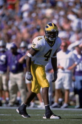 8 Sep 2001:  Marquise Walker #4 of the Michigan Wolverines waiting for the snap of the ball during the game against the Washington Huskies at the Husky Stadium in Seattle, Washington. The Huskies defeated the Wolverines 23-18.Mandatory Credit: Otto Greule
