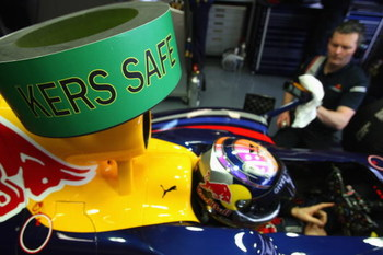 JEREZ DE LA FRONTERA, SPAIN - FEBRUARY 09:  The warning sign on the Red Bull Racing RB5 car of Sebastian Vettel signals that the KERS energy system is disabled and the car is safe to touch during the Red Bull 2009 F1 Launch of the new RB5 Formula One car
