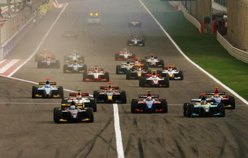 SAKHIR, BAHRAIN - APRIL 14:  General view as the first GP2 race of the season starts at the Bahrain International Circuit on April 14, 2007 in Sakhir, Bahrain.  (Photo by Mark Thompson/Getty Images)