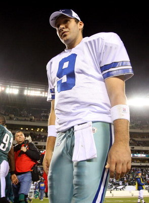 PHILADELPHIA - DECEMBER 28:  Tony Romo #9 of the Dallas Cowboys walks off the field after playing the Philadelphia Eagles on December 28, 2008 at Lincoln Financial Field in Philadelphia, Pennsylvania. The Eagles defeated the Cowboys 44-6.  (Photo by Jim M