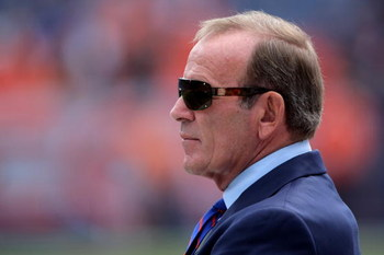 DENVER - SEPTEMBER 21:  Pat Bowlen, President and CEO of the Denver Broncos, watches the team warm up prior to facing the New Orleans Saints during NFL action at Invesco Field at Mile High on September 21, 2008 in Denver, Colorado. The Broncos defeated th