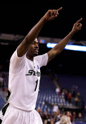 INDIANAPOLIS - MARCH 27:  Kalin Lucas #1 of the Michigan State Spartans reacts after Michigan State's 67-62 against the Kansas Jayhawks during the third round of the NCAA Division I Men's Basketball Tournament at the Lucas Oil Stadium on March 27, 2009 in