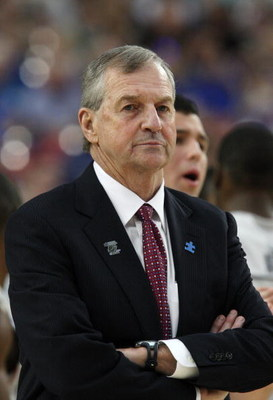 GLENDALE, AZ - MARCH 26:  Head Coach Jim Calhoun of the Connenticut Huskies stands on the sideline during their game against the Purdue Boilermakers in the Sweet 16 of the NCAA Division I Men's Basketball Tournament at the University of Phoenix Stadium on