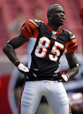 TAMPA, FL - OCTOBER 15:  Wide receiver Chad Johnson #85 of the Cinncinatti Bengals stretches prior to a game against the Tampa Bay Buccaneers on October 15, 2006 at Raymond James Stadium in Tampa, Florida. The Buccaneers defeated the Bengals 14-13.  (Phot
