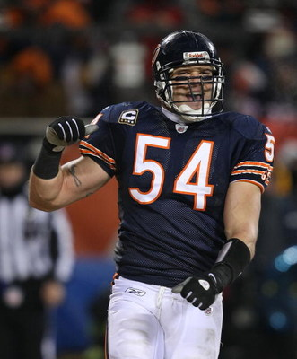 CHICAGO - DECEMBER 22: Brian Urlacher #54 of the Chicago Bears celebrates near the end of a game against the Green Bay Packers on December 22, 2008 at Soldier Field in Chicago, Illinois. The Bears defeated the Packers 20-17 in overtime. (Photo by Jonathan