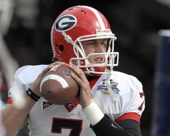 ORLANDO, FL - JANUARY 1: Quarterback Matthew Stafford #7 of the University of Georgia warms up before play against the Michigan State Spartans at the 2009 Capital One Bowl at the Citrus Bowl on January 1, 2009 in Orlando, Florida.  (Photo by Al Messerschm