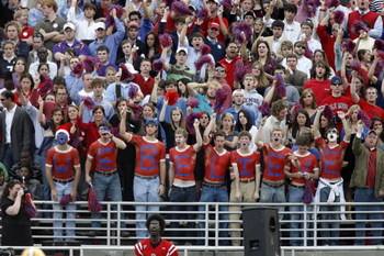 OXFORD, MS - NOVEMBER 17: Fans of the Mississippi Rebels cheer in a game against the LSU Tigers on November 17, 2007 at Vaught-Hemingway Stadium/Hollingsworth Field in Oxford, Mississippi. LSU beat Mississippi 41-24. (Photo by Joe Murphy/Getty Images)