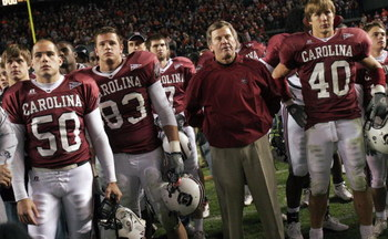 COLUMBIA, SC - NOVEMBER 19:  Head Coach Steve Spurrier of the University of South Carolina Gamecocks observes the national anthem before the game with the Clemson Tigers on November 19, 2005, at Williams-Brice Stadium in Columbia, South Carolina. Clemson