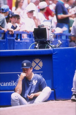26 Jun 1998:  Hideki Irabu #14 of the New York Yankees looks on during an interleague game against the New York Mets at Shea Stadium in Flushing, New York.  The Yankees defeated the Mets 7-2. Mandatory Credit: David Seelig  /Allsport