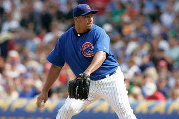 CHICAGO, IL - SEPTEMBER 19: Pitcher Carlos Zambrano #38 of the Chicago Cubs pitches against the St. Louis Cardinals at Wrigley Field on September 19, 2008 in Chicago, Illinois. (Photo by Scott Boehm/Getty Images)