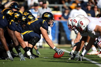 BERKELEY, CA - NOVEMBER 22:   Alex Mack #51 of the California Golden Bears lines up against the Stanford Cardinal during an NCAA football game on November 22, 2008 at Memorial Stadium in Berkeley, California.  (Photo by Jed Jacobsohn/Getty Images)