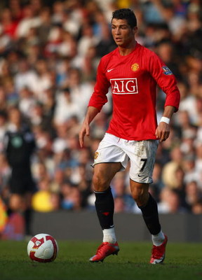 LONDON - MARCH 21:  Cristiano Ronaldo of Manchester United runs with the ball during the Barclays Premier League match between Fulham and Manchester United at Craven Cottage on March 21, 2009 in London, England.  (Photo by Ryan Pierse/Getty Images)