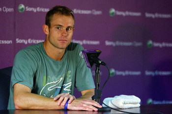 KEY BISCAYNE, FL - MARCH 26:  Andy Roddick speaks to the media at a press conference during day four of the Sony Ericsson Open at the Crandon Park Tennis Center on March 26, 2009 in Key Biscayne, Florida.  (Photo by Michael Heiman/Getty Images)