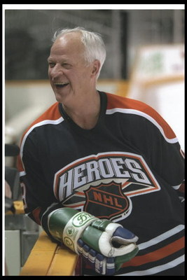 17 Jan 1997:  All-time record setter Gordie Howe enjoys the acclaim of the crowd during  practice with the Heroes of Hockey  team at the San Jose Arena in San Jose, California.  Mandatory Credit: Rick Stewart  /Allsport