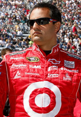 MARTINSVILLE, VA - MARCH 29: Juan Pablo Montoya, driver of the #42 Target Chevrolet, stands on the grid prior to the start of the NASCAR Sprint Cup Series Goody's Fast Pain Relief 500 at the Martinsville Speedway on March 29, 2009 in Martinsville, Virgini