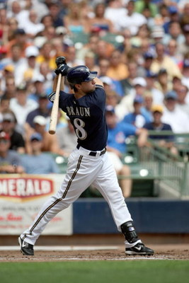 MILWAUKEE - JULY 31:  Ryan Braun #8 of the Milwaukee Brewers bats during their MLB game against the Chicago Cubs on July 31, 2008 at Miller Park in Milwaukee, Wisconsin. The Cubs defeated the Brewers 11-4. (Photo by Jonathan Daniel/Getty Images)