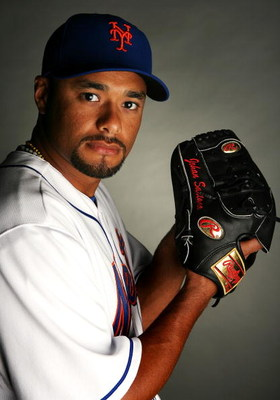 PORT SAINT LUCIE, FL - FEBRUARY 23:  Johan Santana #57 of the New York Mets poses during photo day at Tradition Field on February 23, 2009 in Port Saint Lucie, Florida.  (Photo by Doug Benc/Getty Images)