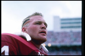 1985:  Defensive lineman Brian Bosworth of the Oklahoma Sooners stands on the sidelines during a game in Norman, Oklahoma.+Mandatory Credit: Allsport  /Allsport