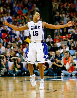 ATLANTA - MARCH 15:  Gerald Henderson #15 of the Duke Blue Devils reacts after assisting on a three-point basket against the Florida State Seminoles during the championship game of the 2009 ACC Men's Basketball Tournament at the Georgia Dome March 15, 200