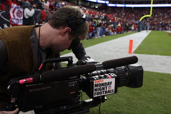 HOUSTON - DECEMBER 01:  An ESPN Monday Night Football cameraman during a game between the Jacksonville Jaguars and the Houston Texans at Reliant Stadium on December 1, 2008 in Houston, Texas.  (Photo by Ronald Martinez/Getty Images)
