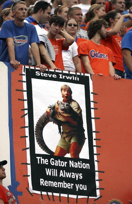 GAINESVILLE, FL - SEPTEMBER 9:  A poster tribute to Steve Irwin, 'The Crocodile Hunter' hangs in the corner of the stadium as the University of Central Florida Golden Knights takes on the University of Florida Gators at Ben Hill Griffin Stadium on Septemb