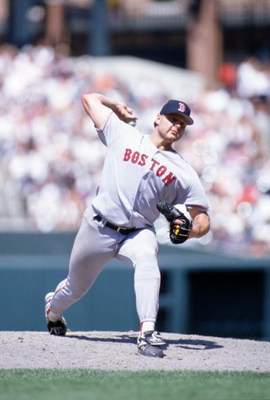 6 Jul 1996:  Pitcher Roger Clemens of the Boston Red Sox delivers the ball home during the Red Sox 4-3 win  over the Baltimore Orioles at Camden Yards in Baltimore, Maryland. Mandatory Credit: Doug Pensinger/ALLSPORT