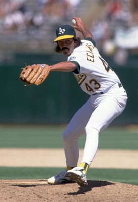 4  Jul 1995:  Pitcher Dennis Eckersley of the Oakland Athletcic makes a delivery in their 5-3 victory over the Milwaukee Brewers at the Oakland Alameda County Coliseum in Oakland, California.  Mandatory Credit: Jed Jacobsohn/ALLSPORT