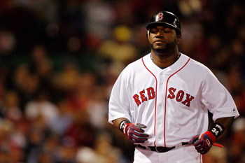BOSTON - OCTOBER 14:  David Ortiz #34 of the Boston Red Sox looks on in game four of the American League Championship Series against the Tampa Bay Rays during the 2008 MLB playoffs at Fenway Park on October 14, 2008 in Boston, Massachusetts.  (Photo by Ji