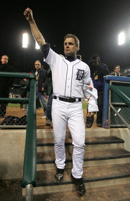 DETROIT - OCTOBER 13:  Starting pitcher Kenny Rogers #37 of the Detroit Tigers acknowledges the fans as he walks in to the locker room following the Tigers 3-0 win against the Oakland Athletics during Game Three of the American League Championship Series