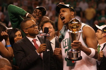 BOSTON - JUNE 17:  Paul Pierce #34 of the Boston Celtics answers question from ESPN broadcaster Stuart Scott as Pierce holds the NBA Finals MVP trophy after defeating the Los Angeles Lakers in Game Six of the 2008 NBA Finals on June 17, 2008 at TD Banknor