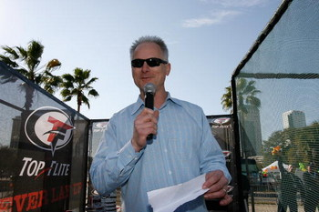 TAMPA, FL - JANUARY 30:  Kenny Mayne handles the microphone just prior to the start of the Top Flite Long Drive Contest for Charity at the Andreychuks Grille on January 30, 2009 in Tampa, Florida.  (Photo by J. Meric/Getty Images for Top Flite)