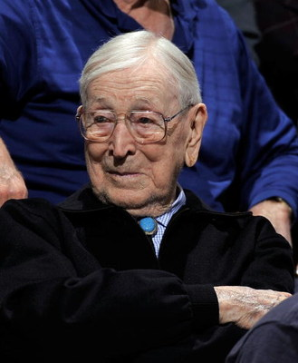 WESTWOOD, CA - JANUARY 29:  Former coach John Wooden of the UCLA Bruins watches as the Bruins take on the University of California Golden Bears at Pauley Pavilion January 29, 2009 in Westwood, California. UCLA won, 81-66.  (Photo by Kevork Djansezian/Gett
