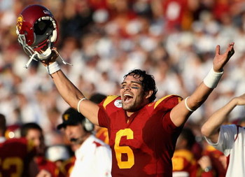 PASADENA, CA - JANUARY 01:  Quarterback Mark Sanchez #6 of the USC Trojans celebrates after scoring a touchdown during the 95th Rose Bowl Game presented by Citi against the Penn State Nittany Lions at the Rose Bowl on January 1, 2009 in Pasadena, Californ