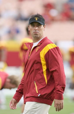 LOS ANGELES - OCTOBER 4:  Offensive Coordinator Steve Sarkisian of the USC Trojans looks on before the game against the Oregon Ducks on October 4, 2008 at the Los Angeles Memorial Coliseum in Los Angeles, California.  USC won 44-10.  (Photo by Jeff Golden