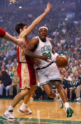 BOSTON - MAY 18:  Paul Pierce #34 of the Boston Celtics drives against Wally Szczerbiak #10 of the Cleveland Cavaliers in Game Seven of the Eastern Conference Semifinals during the 2008 NBA Playoffs at the TD Banknorth Garden May 18, 2008 in Boston, Massa