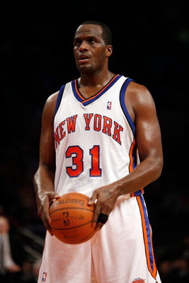 NEW YORK - OCTOBER 24:  Malik Rose #31  of the New York Knicks stands at the free-throw line during the first half of a preseason game against the New Jersey Nets on October 24, 2008 at Madison Square Garden in New York City.  NOTE TO USER: User expressly