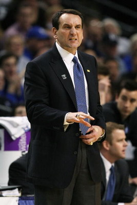 BOSTON - MARCH 26:  Head coach Mike Krzyzewski of the Duke Blue Devils gives instructions during their game against the Villanova Wildcats during the NCAA Men's Basketball Tournament East Regionals at TD Banknorth Garden on March 26, 2009 in Boston, Massa