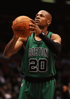 EAST RUTHERFORD, NJ - MARCH 04:  Ray Allen #20 of Boston Celtics shoots a foul shot against the New Jersey Nets during their game on March 4th, 2009 at The Izod Center in East Rutherford, New Jersey.  NOTE TO USER: User expressly acknowledges and agrees t