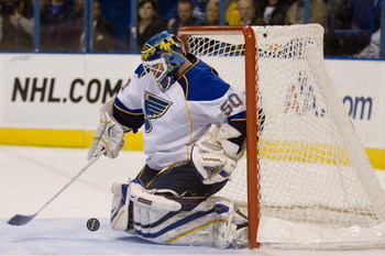 ST. LOUIS, MO. - MARCH 28: Chris Mason #50 of the St. Louis Blues makes a save against the Columbus Bluejackets at the Scottrade Center on March 28, 2009 in St. Louis, Missouri.  The Blues won 4-3 in a shootout.  (Dilip Vishwanat/Getty Images)
