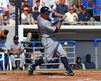 DUNEDIN, FL - FEBRUARY 27 :  Infielder Brandon Inge of the Detroit Tigers bats against the Toronto Blue Jays February 27, 2009 at Dunedin Stadium in Dunedin, Florida.  (Photo by Al Messerschmidt/Getty Images)