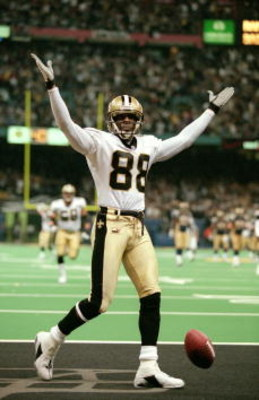 30 Dec 2000:  Willie Jackson #88 of the New Orleans Saints celebrates on the field during the game against the St. Louis Rams at the Louisiana Superdome in New Orleans, Louisiana. The Saints defeated the Rams 31-28.Mandatory Credit: Brian Bahr  /Allsport