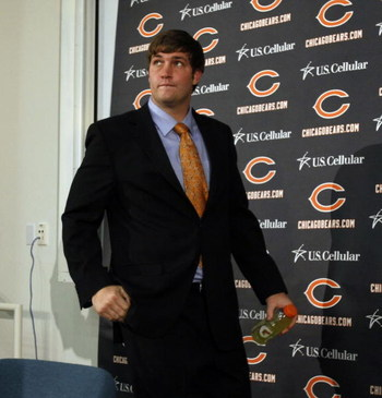 LAKE FOREST, IL - APRIL 3: Jay Cutler attends a press conference as the Chicago Bears introduced him as their new on April 3, 2009 at Halas Hall in Lake Forest, Illinois. (Photo by Jim Prisching/Getty Images)